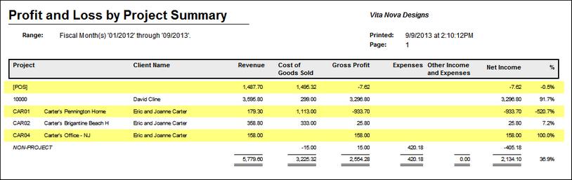 profit and loss summary